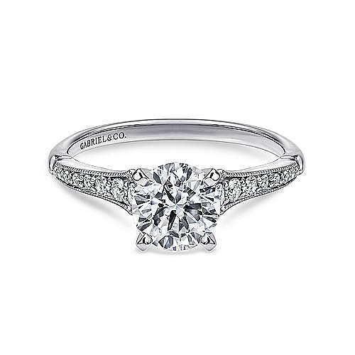 Gabriel - Hollis Platinum Round Straight Engagement Ring