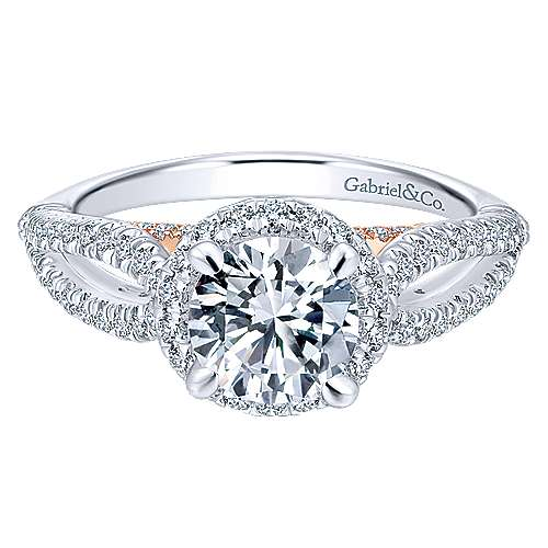 Gabriel - Holly 14k White And Rose Gold Round Halo Engagement Ring