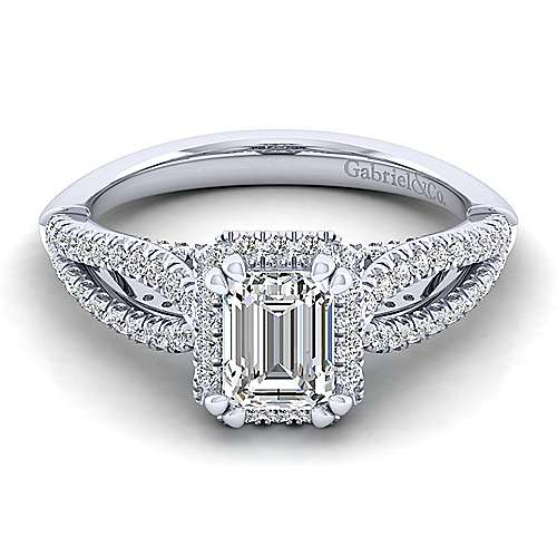 Gabriel - Holly 14k White Gold Emerald Cut Halo Engagement Ring