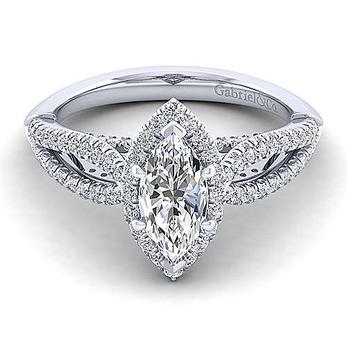 Gabriel - Holly 14k White Gold Marquise  Halo Engagement Ring