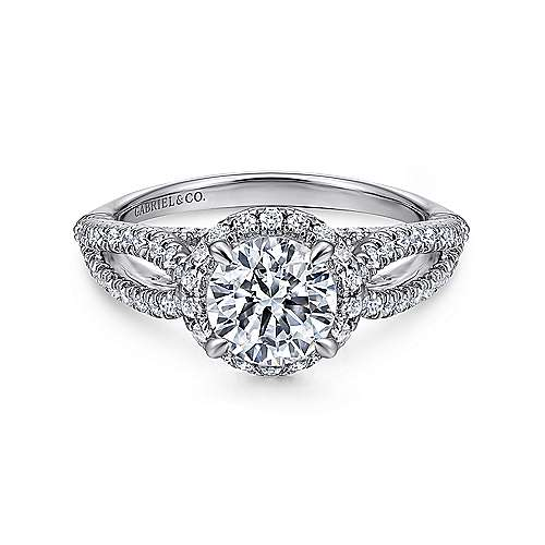 Holly 14k White Gold Round Halo Engagement Ring angle 1