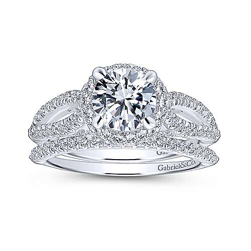 Holly 14k White Gold Round Halo Engagement Ring angle 4
