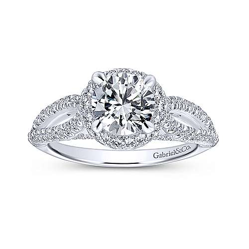 Holly 14k White Gold Round Halo Engagement Ring angle 5