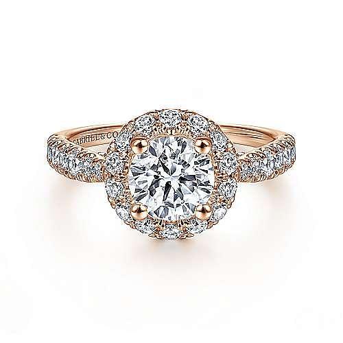 Gabriel - Honey 14k Rose Gold Round Halo Engagement Ring