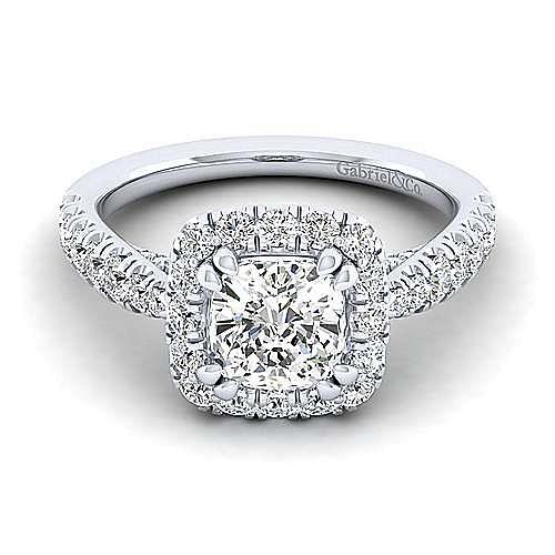 Gabriel - Honey 14k White Gold Cushion Cut Halo Engagement Ring