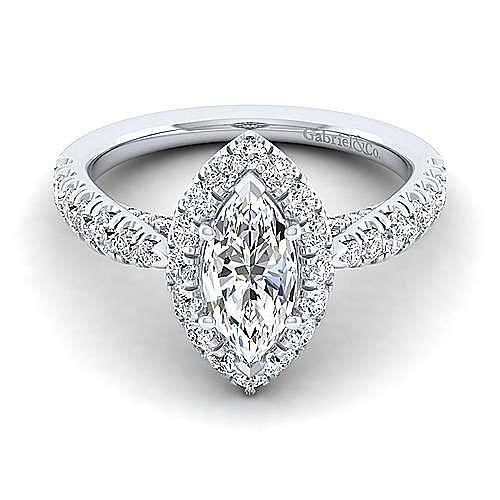 Gabriel - Honey 14k White Gold Marquise  Halo Engagement Ring