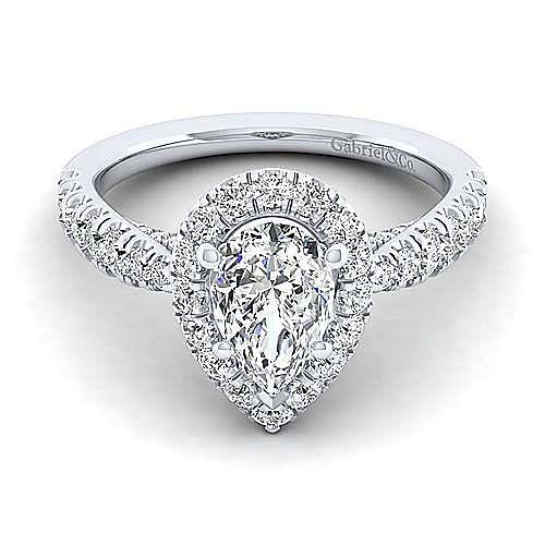 Gabriel - Honey 14k White Gold Pear Shape Halo Engagement Ring