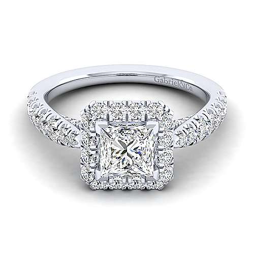 Gabriel - Honey 14k White Gold Princess Cut Halo Engagement Ring