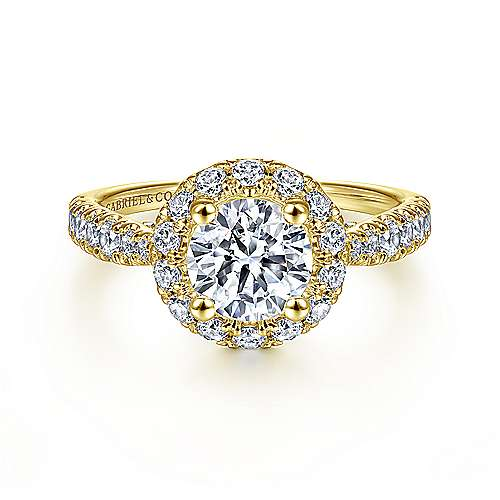 Gabriel - Honey 14k Yellow Gold Round Halo Engagement Ring