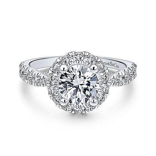 Gabriel - Honey 18k White Gold Round Halo Engagement Ring