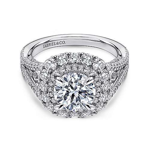 Gabriel - Honeymoon 18k White Gold Round Double Halo Engagement Ring