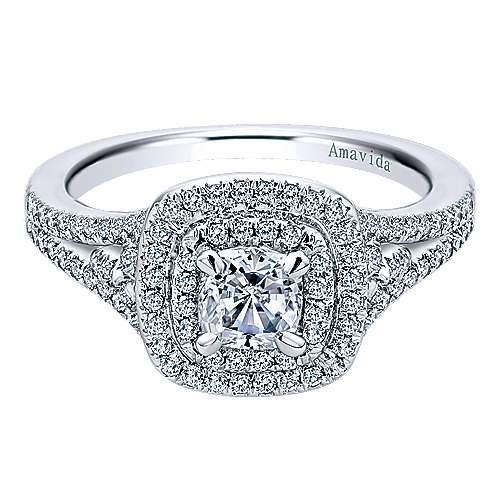 Honor 18k White Gold Cushion Cut Double Halo Engagement Ring angle 1