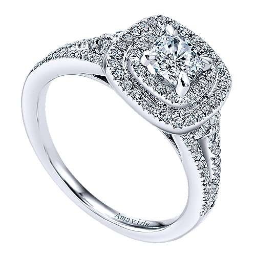 Honor 18k White Gold Cushion Cut Double Halo Engagement Ring angle 3