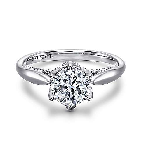 Gabriel - Hortensia 18k White Gold Round Straight Engagement Ring