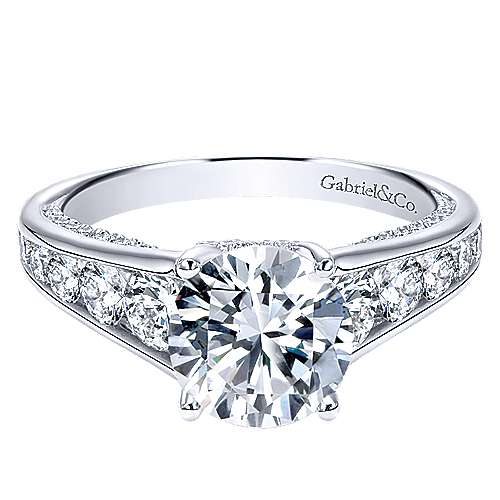 Hula 18k White Gold Round Straight Engagement Ring angle 1