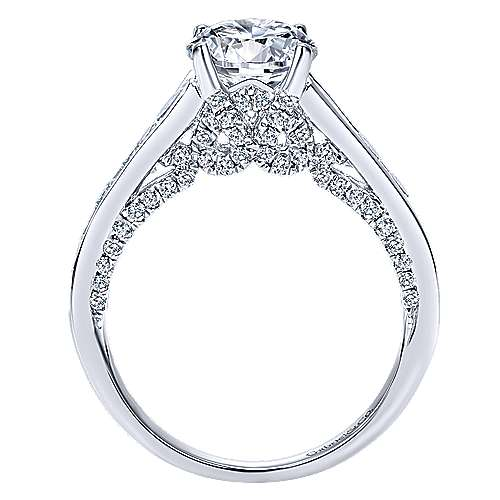 Hula 18k White Gold Round Straight Engagement Ring angle 2
