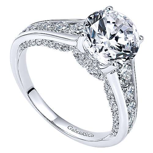 Hula 18k White Gold Round Straight Engagement Ring angle 3