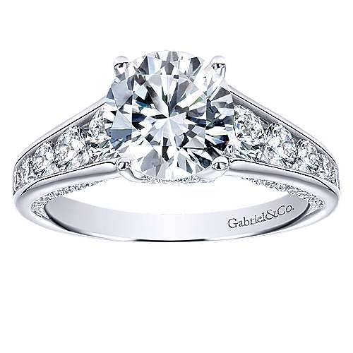 Hula 18k White Gold Round Straight Engagement Ring angle 5