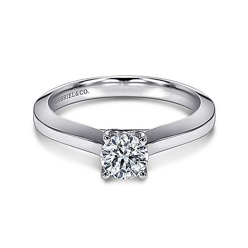 Gabriel - Hunter 14k White Gold Round Solitaire Engagement Ring