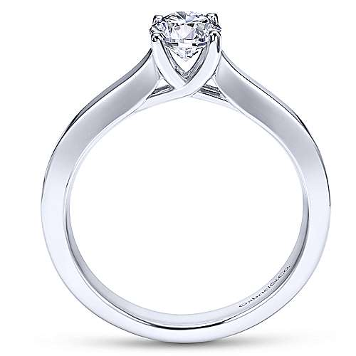 Hunter 14k White Gold Round Solitaire Engagement Ring angle 2