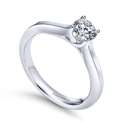 Hunter 14k White Gold Round Solitaire Engagement Ring angle 3