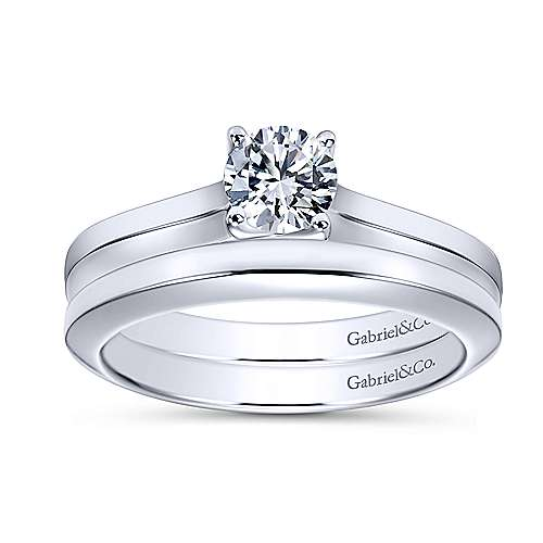 Hunter 14k White Gold Round Solitaire Engagement Ring angle 4