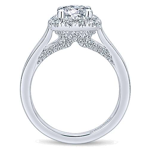 Hydrangea 14k White Gold Round Halo Engagement Ring angle 2