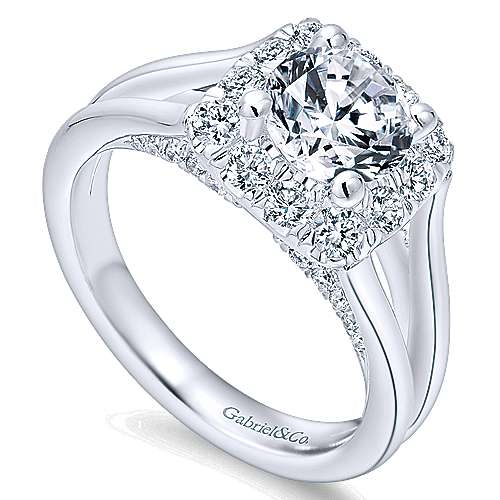 Hydrangea 14k White Gold Round Halo Engagement Ring angle 3