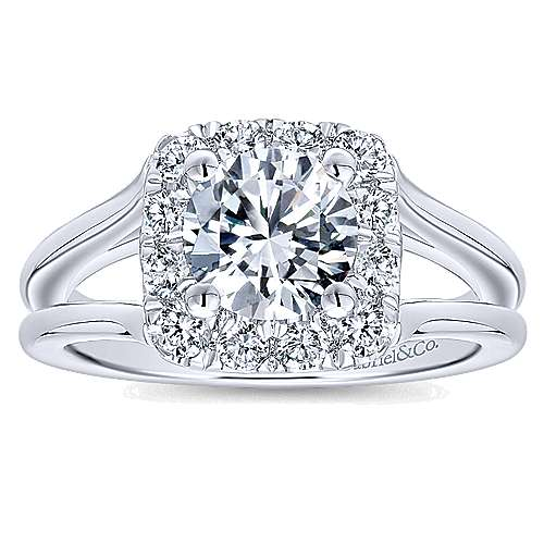 Hydrangea 14k White Gold Round Halo Engagement Ring angle 5