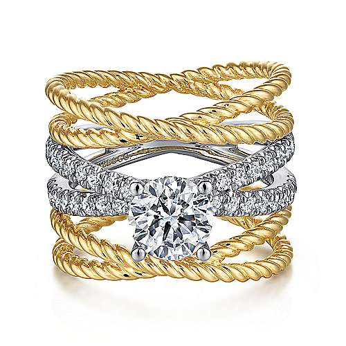 Iceland 14k Yellow And White Gold Round Twisted Engagement Ring angle 1