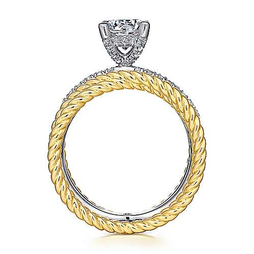 Iceland 14k Yellow And White Gold Round Twisted Engagement Ring angle 2
