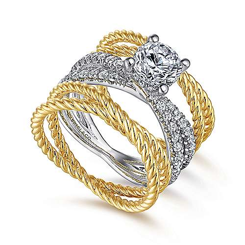 Iceland 14k Yellow And White Gold Round Twisted Engagement Ring angle 3