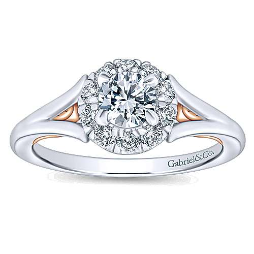 Idol 14k White And Rose Gold Round Halo Engagement Ring angle 5