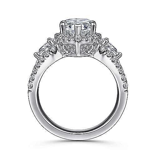 Ilona 14k White Gold Pear Shape 3 Stones Halo Engagement Ring angle 2