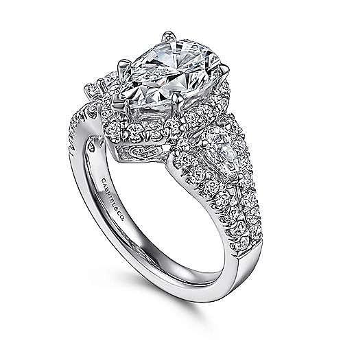 Ilona 14k White Gold Pear Shape 3 Stones Halo Engagement