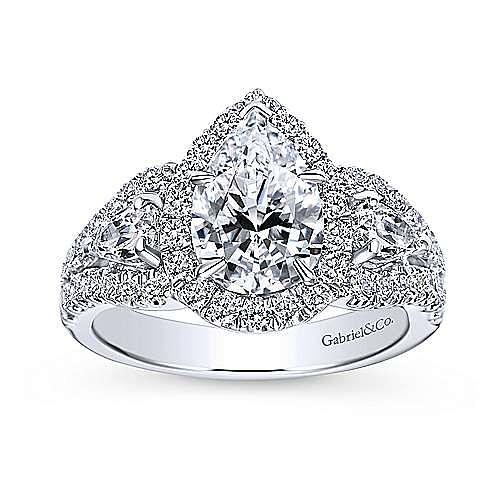 Ilona 14k White Gold Pear Shape 3 Stones Halo Engagement Ring angle 5