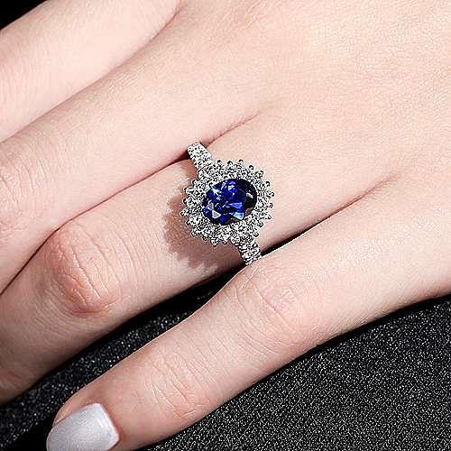 Imani 14k White Gold Oval Halo Engagement Ring