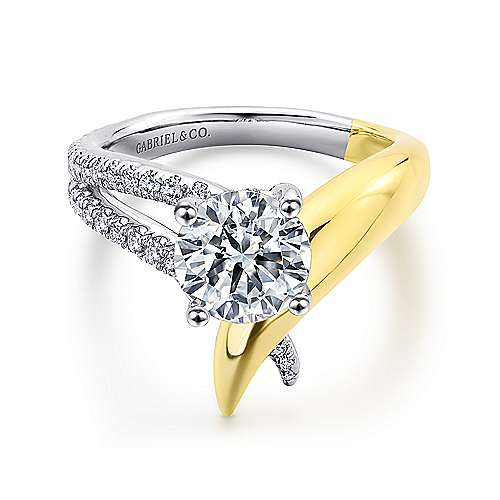 Gabriel - Indiana 14k Yellow And White Gold Round Split Shank Engagement Ring