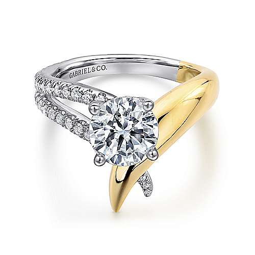 Gabriel - Indiana 18k Yellow And White Gold Round Split Shank Engagement Ring
