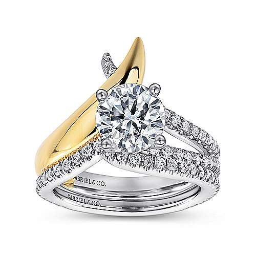 Indiana 18k Yellow And White Gold Round Split Shank Engagement Ring angle 4