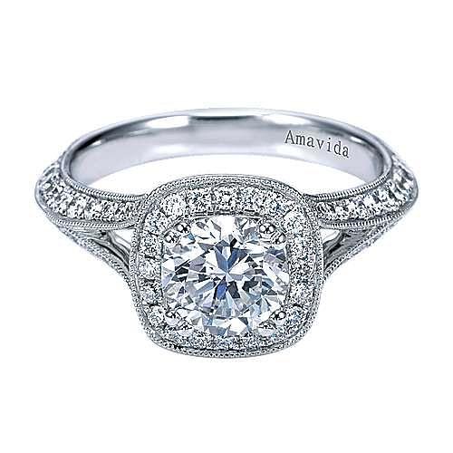 Gabriel - Indulge 18k White Gold Round Halo Engagement Ring