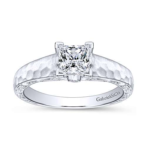 Indy 14k White Gold Princess Cut Solitaire Engagement Ring angle 5