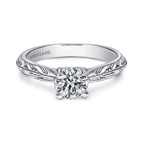 Gabriel - Ines 14k White Gold Round Straight Engagement Ring