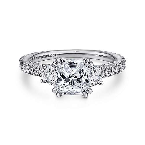 Innocence 18k White Gold Cushion Cut 3 Stones Engagement Ring angle 1