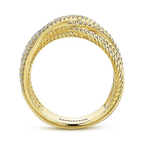 Intersecting 14K Yellow Gold Twisted Rope and Diamond Row Ring