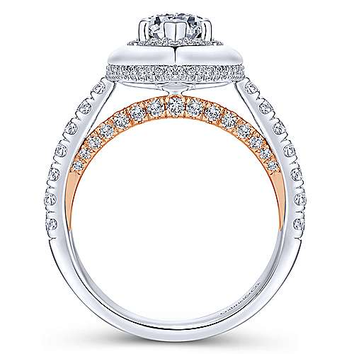Irene 18k White And Rose Gold Marquise  Halo Engagement Ring angle 2