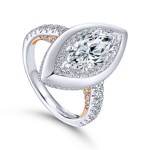 Irene 18k White And Rose Gold Marquise  Halo Engagement Ring angle 3