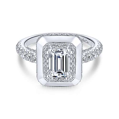 Irene 18k White Gold Emerald Cut Halo Engagement Ring angle 1
