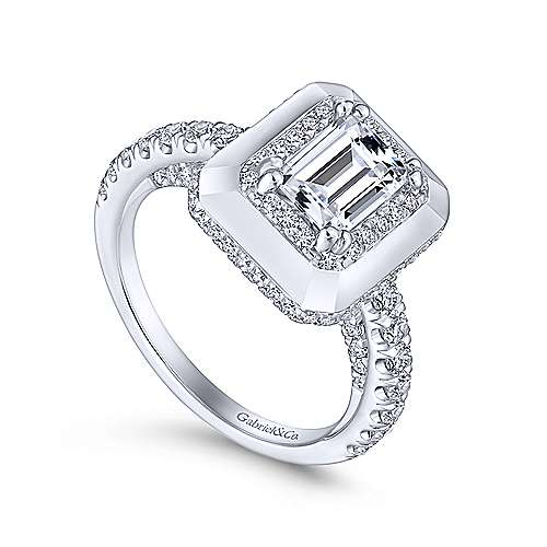 Irene 18k White Gold Emerald Cut Halo Engagement Ring angle 3