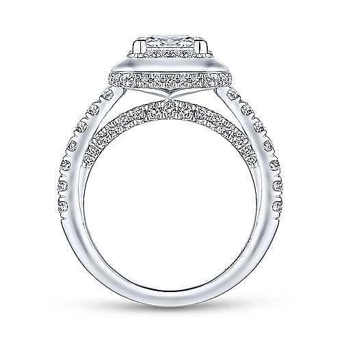 Irene 18k White Gold Princess Cut Halo Engagement Ring angle 2